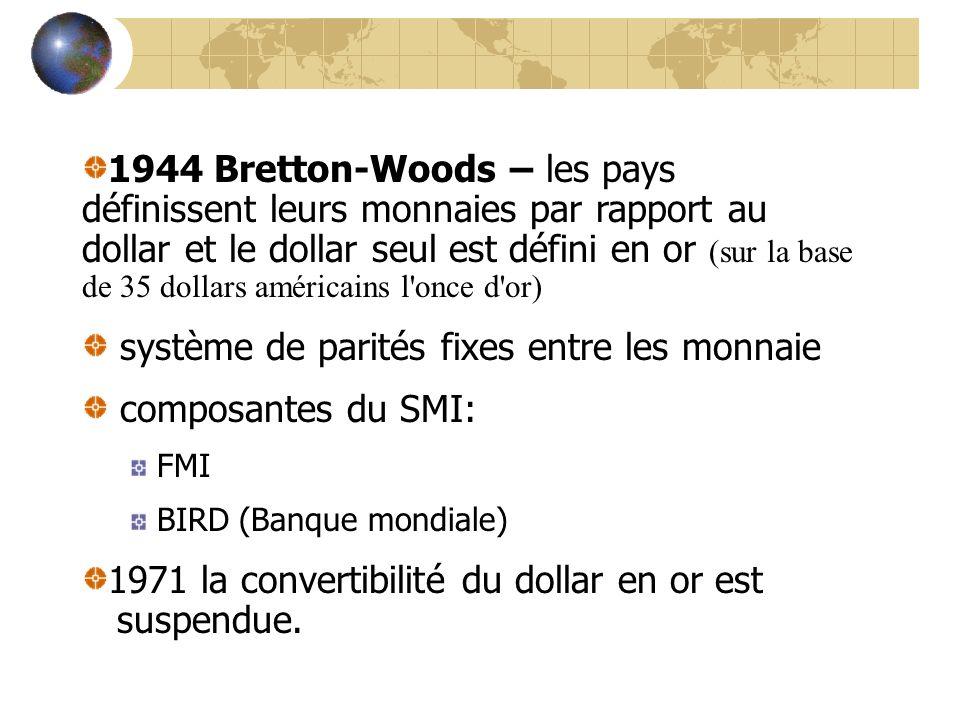 1944 Bretton-Woods – les pays définissent leurs monnaies par rapport au dollar et le dollar seul est défini en or (sur la base de 35 dollars américain