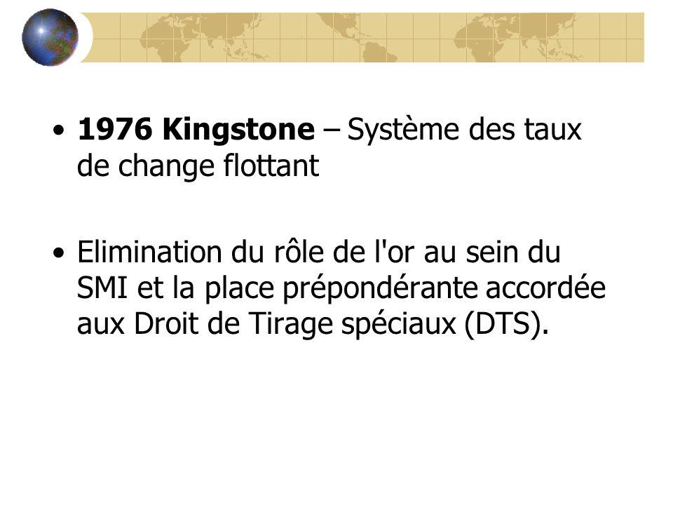 1976 Kingstone – Système des taux de change flottant Elimination du rôle de l'or au sein du SMI et la place prépondérante accordée aux Droit de Tirage