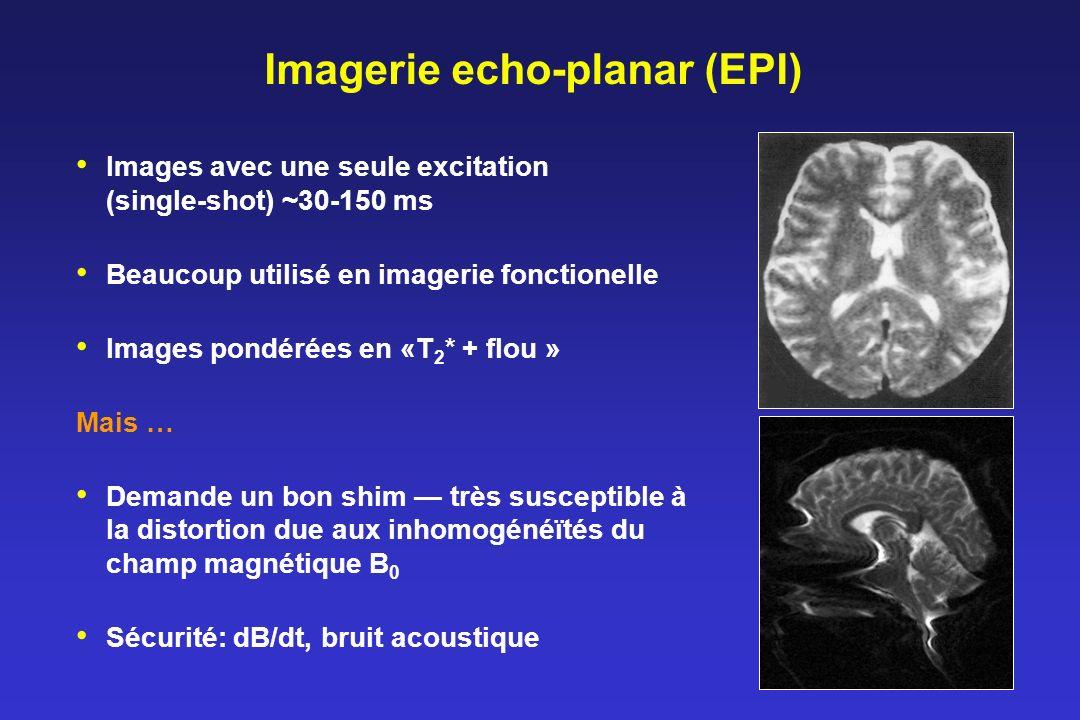 Imagerie echo-planar (EPI) Images avec une seule excitation (single-shot) ~30-150 ms Beaucoup utilisé en imagerie fonctionelle Images pondérées en «T 2 * + flou » Mais … Demande un bon shim très susceptible à la distortion due aux inhomogénéïtés du champ magnétique B 0 Sécurité: dB/dt, bruit acoustique