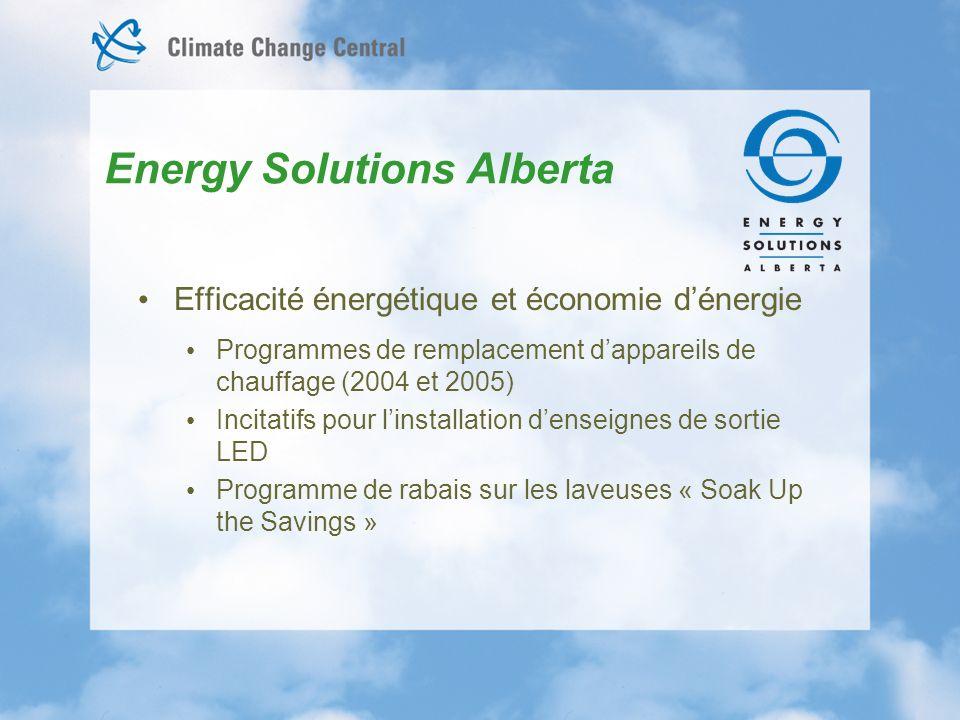 Efficacité énergétique et économie dénergie Programmes de remplacement dappareils de chauffage (2004 et 2005) Incitatifs pour linstallation denseignes de sortie LED Programme de rabais sur les laveuses « Soak Up the Savings » Energy Solutions Alberta