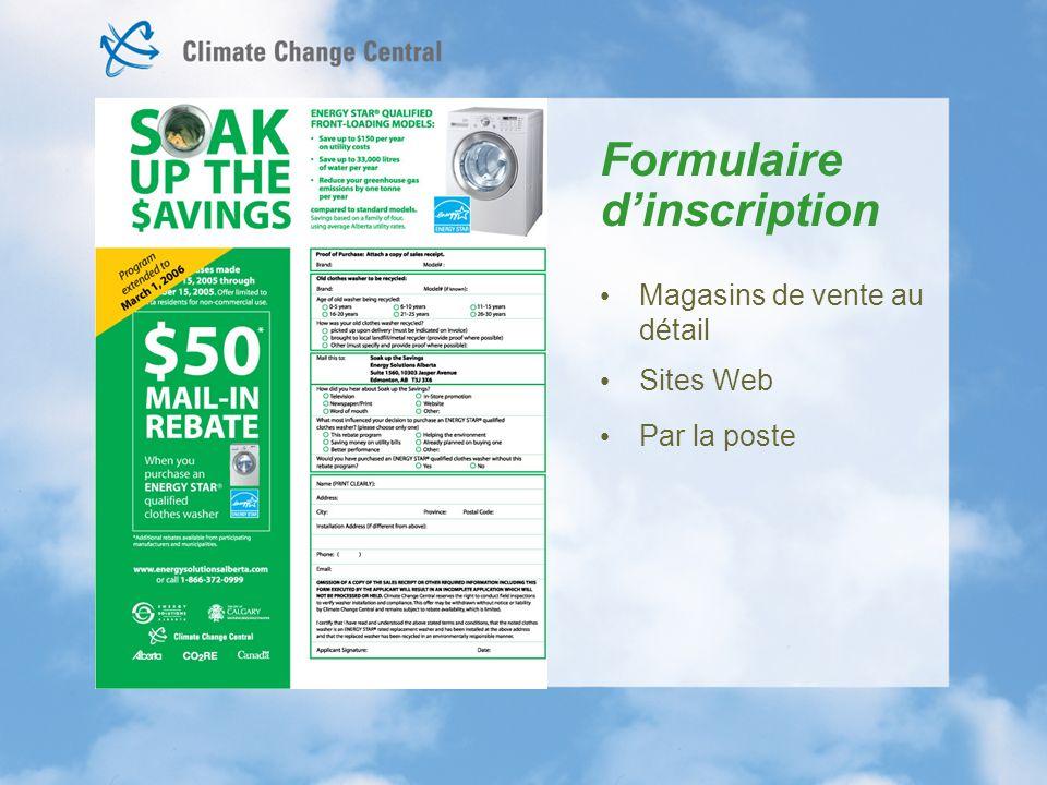 Formulaire dinscription Magasins de vente au détail Sites Web Par la poste