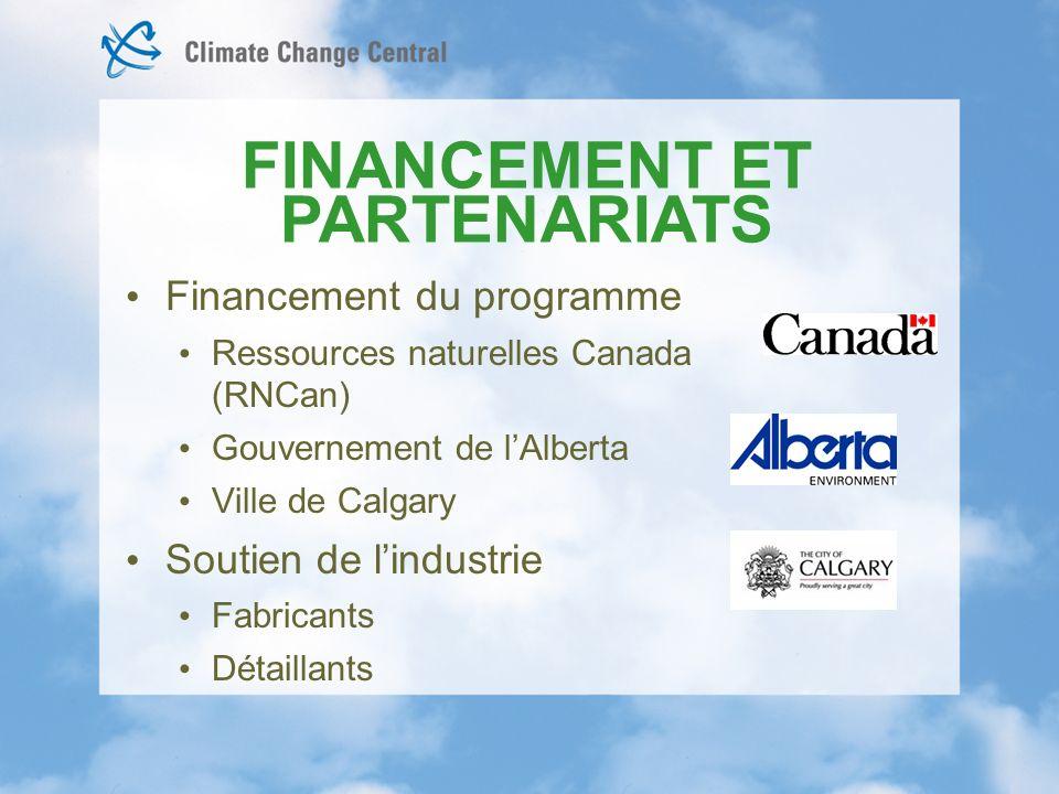 Financement du programme Ressources naturelles Canada (RNCan) Gouvernement de lAlberta Ville de Calgary Soutien de lindustrie Fabricants Détaillants FINANCEMENT ET PARTENARIATS