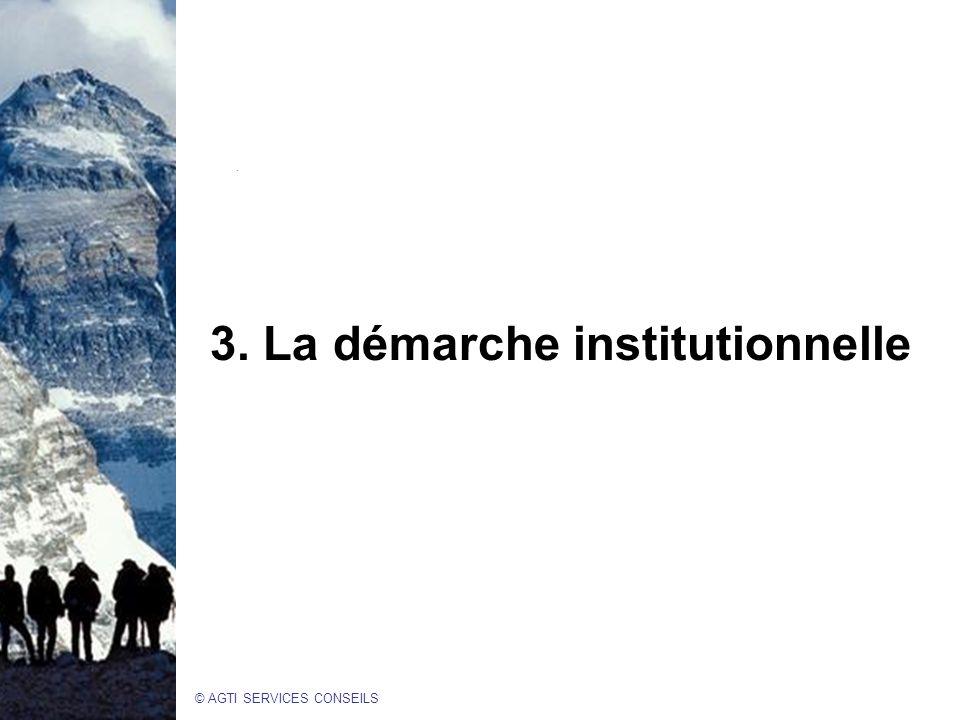 © AGTI SERVICES CONSEILS 3. La démarche institutionnelle.