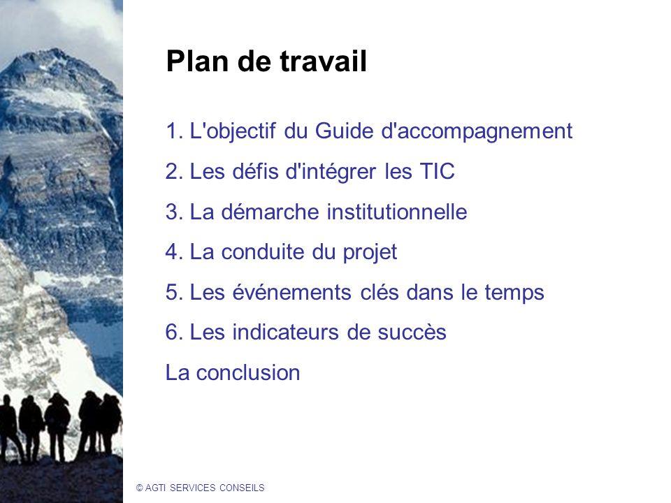 © AGTI SERVICES CONSEILS Plan de travail 1.L objectif du Guide d accompagnement 2.