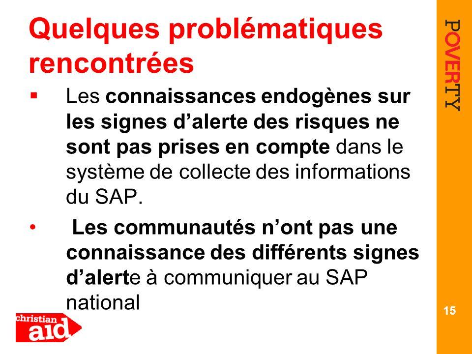 Quelques problématiques rencontrées Les connaissances endogènes sur les signes dalerte des risques ne sont pas prises en compte dans le système de collecte des informations du SAP.