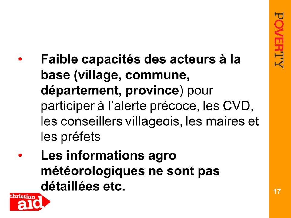 Faible capacités des acteurs à la base (village, commune, département, province) pour participer à lalerte précoce, les CVD, les conseillers villageoi