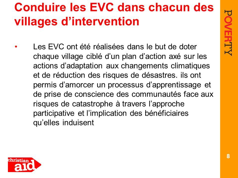 Conduire les EVC dans chacun des villages dintervention Les EVC ont été réalisées dans le but de doter chaque village ciblé dun plan daction axé sur les actions dadaptation aux changements climatiques et de réduction des risques de désastres.