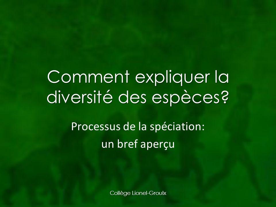 Comment expliquer la diversité des espèces.