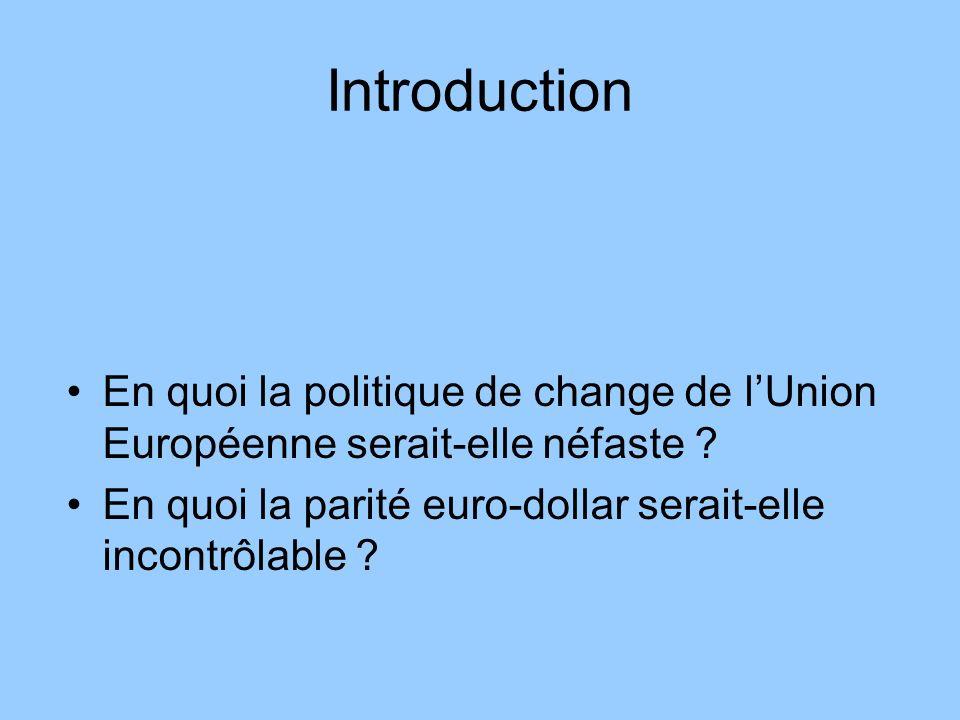 Introduction En quoi la politique de change de lUnion Européenne serait-elle néfaste ? En quoi la parité euro-dollar serait-elle incontrôlable ?