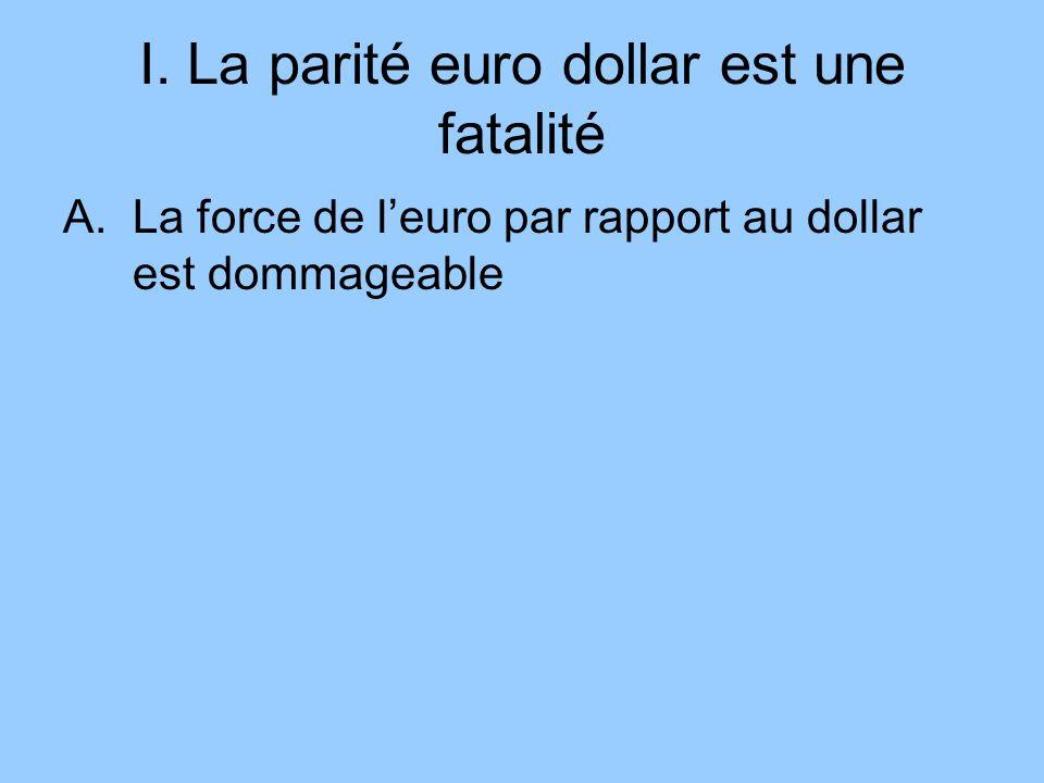 I. La parité euro dollar est une fatalité A.La force de leuro par rapport au dollar est dommageable