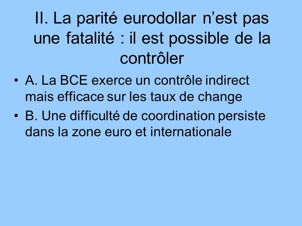 II. La parité eurodollar nest pas une fatalité : il est possible de la contrôler A. La BCE exerce un contrôle indirect mais efficace sur les taux de c