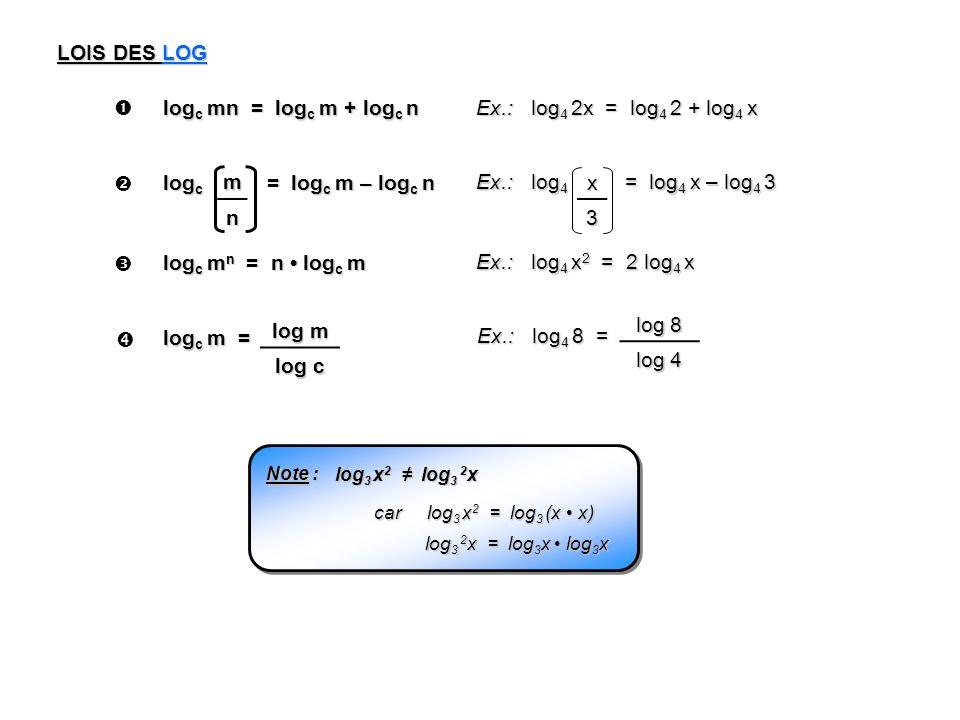 LOIS DES LOG log c mn = log c m + log c n Ex.: log 4 2x = log 4 2 + log 4 x log c = log c m – log c n Ex.: log 4 = log 4 x – log 4 3 m n x3 log c m n