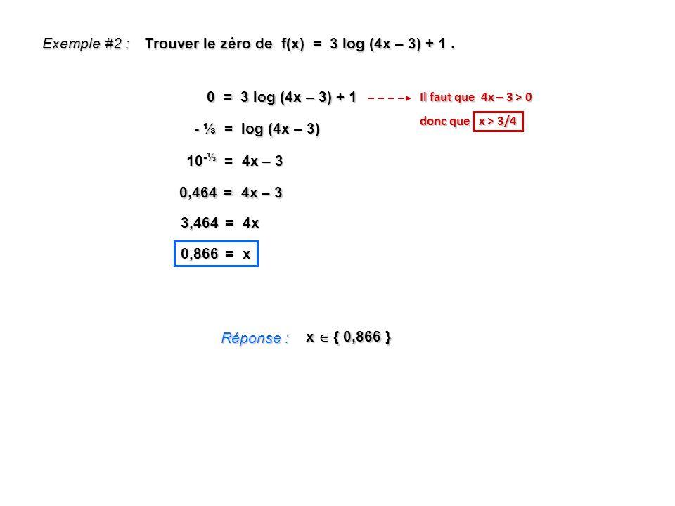Exemple #2 : Trouver le zéro de f(x) = 3 log (4x – 3) + 1. Réponse : x { 0,866 } 0 = 3 log (4x – 3) + 1 Il faut que 4x – 3 > 0 donc que x > 3/4 - = lo