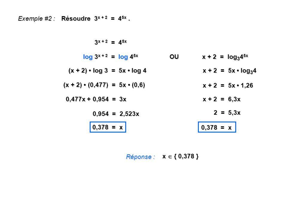 Exemple #2 : Résoudre 3 x + 2 = 4 5x. Réponse : x { 0,378 } 3 x + 2 = 4 5x log 3 x + 2 = log 4 5x (x + 2) log 3 = 5x log 4 (x + 2) (0,477) = 5x (0,6)