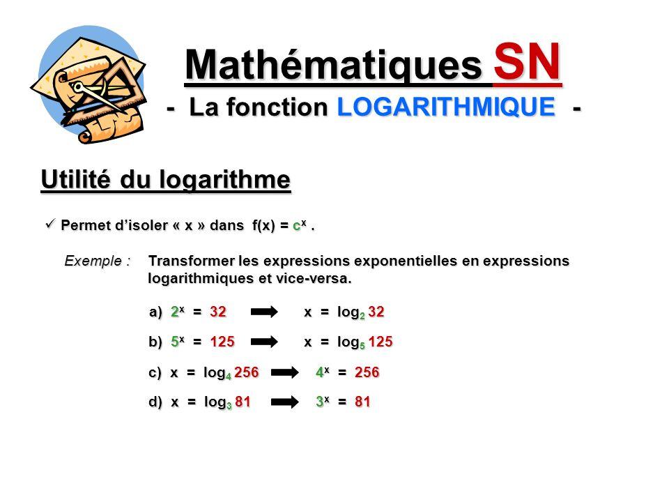 Utilité du logarithme Mathématiques SN - La fonction LOGARITHMIQUE - Exemple : Transformer les expressions exponentielles en expressions logarithmique