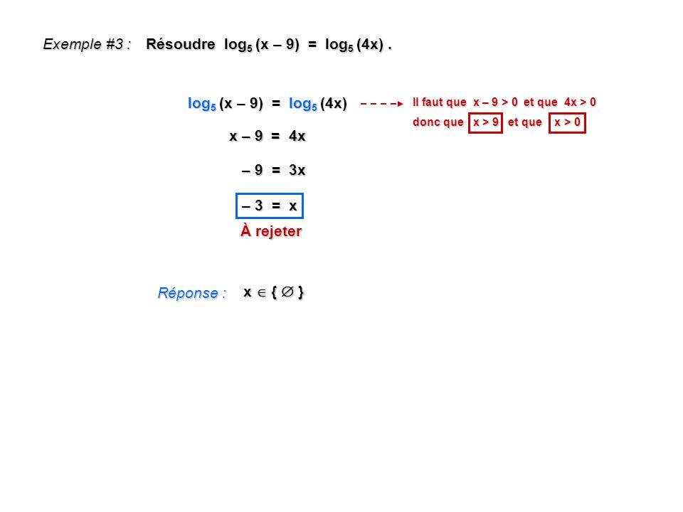 Exemple #3 : Résoudre log 5 (x – 9) = log 5 (4x). Réponse : x { } log 5 (x – 9) = log 5 (4x) x – 9 = 4x – 9 = 3x – 3 = x Il faut que x – 9 > 0 et que