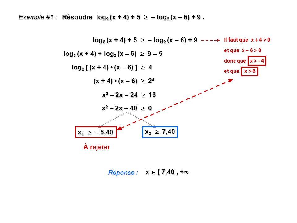 Exemple #1 : Résoudre log 2 (x + 4) + 5 – log 2 (x – 6) + 9. log 2 (x + 4) + 5 – log 2 (x – 6) + 9 log 2 (x + 4) + log 2 (x – 6) 9 – 5 log 2 [ (x + 4)