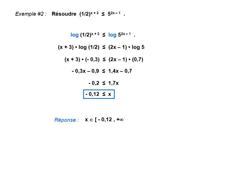 Exemple #2 : (x + 3) log (1/2) (2x – 1) log 5 Réponse : x [ - 0,12, + x [ - 0,12, + Résoudre (1/2) x + 3 5 2x – 1. log (1/2) x + 3 log 5 2x – 1. (x +