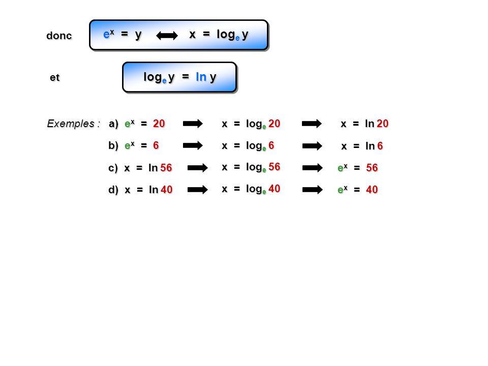 Exemples : a) e x = 20 x = log e 20 b) e x = 6 x = log e 6 c) x = ln 56 x = ln 20 x = ln 6 e x = 56 x = log e 56 d) x = ln 40 e x = 40 x = log e 40 e x = y x = log e y et log e y = ln y donc