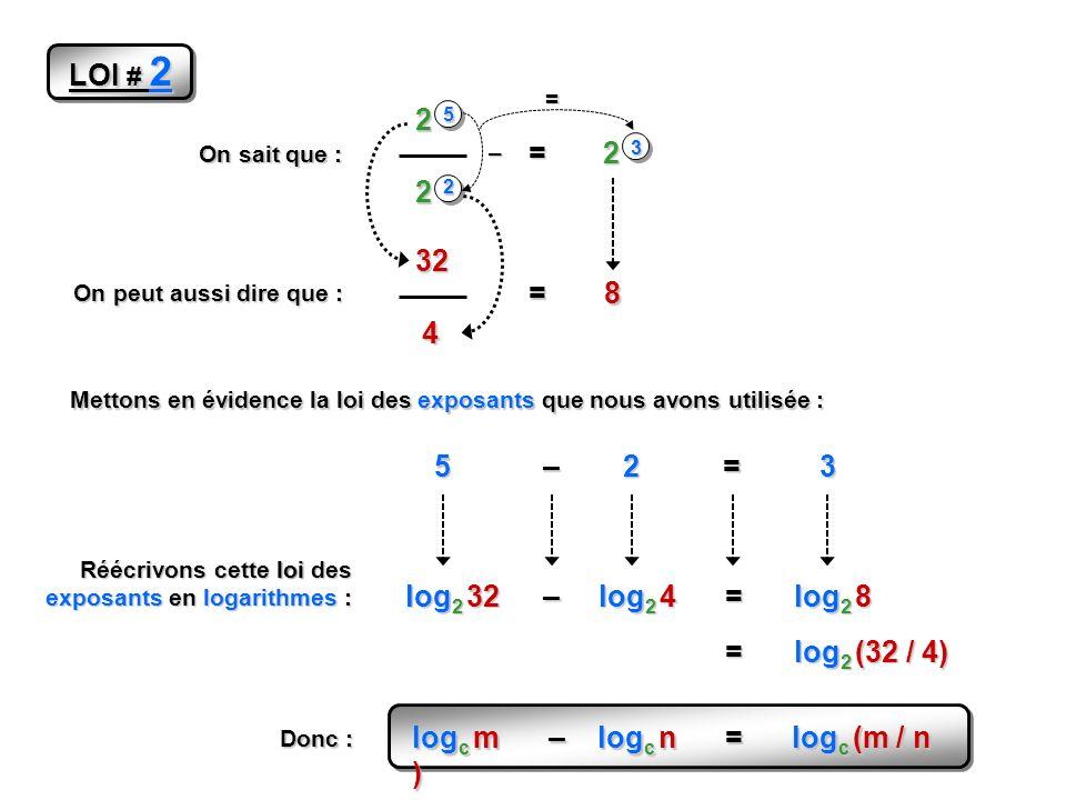 LOI # 2 On sait que : 2 5 2 2 = 2 3 On peut aussi dire que : 32 4 =8 Mettons en évidence la loi des exposants que nous avons utilisée : 52 –= 3 – = Réécrivons cette loi des exposants en logarithmes : log 2 32 log 2 4 –= log 2 8 = log 2 (32 / 4) log c m – log c n = log c (m / n ) Donc :