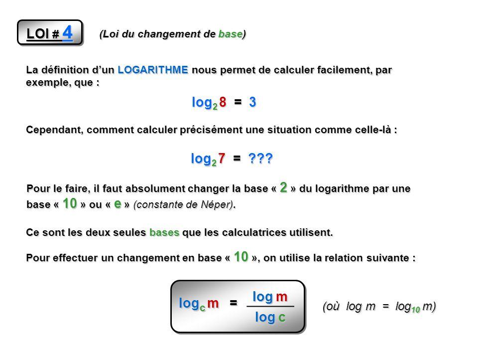 LOI # 4 (Loi du changement de base) La définition dun LOGARITHME nous permet de calculer facilement, par exemple, que : log 2 8 = 3 Cependant, comment