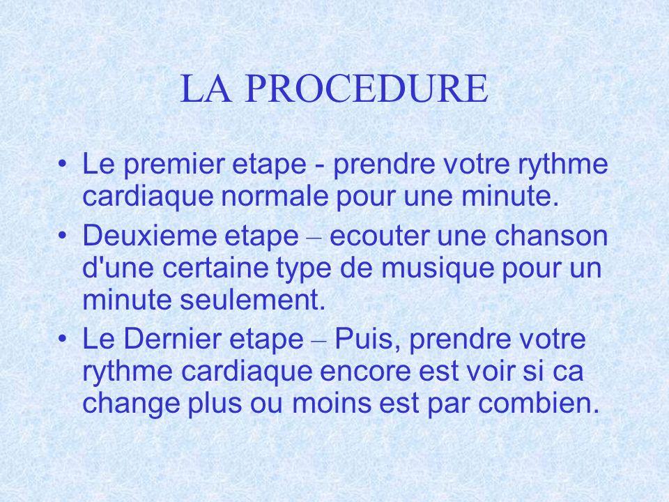 LA PROCEDURE Le premier etape - prendre votre rythme cardiaque normale pour une minute. Deuxieme etape – ecouter une chanson d'une certaine type de mu