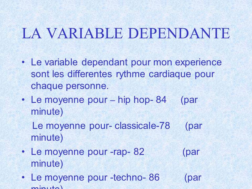 LA VARIABLE DEPENDANTE Le variable dependant pour mon experience sont les differentes rythme cardiaque pour chaque personne. Le moyenne pour – hip hop