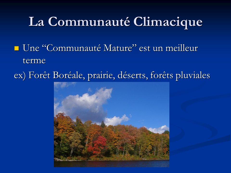 La Communauté Climacique Une Communauté Mature est un meilleur terme Une Communauté Mature est un meilleur terme ex) Forêt Boréale, prairie, déserts,