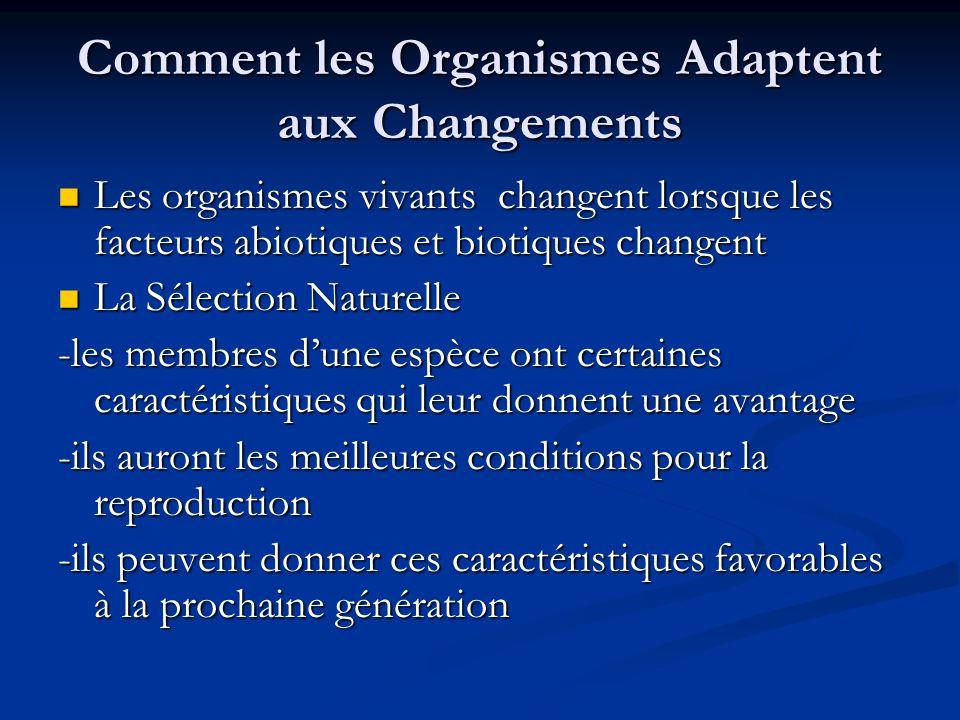 Comment les Organismes Adaptent aux Changements Les organismes vivants changent lorsque les facteurs abiotiques et biotiques changent Les organismes v