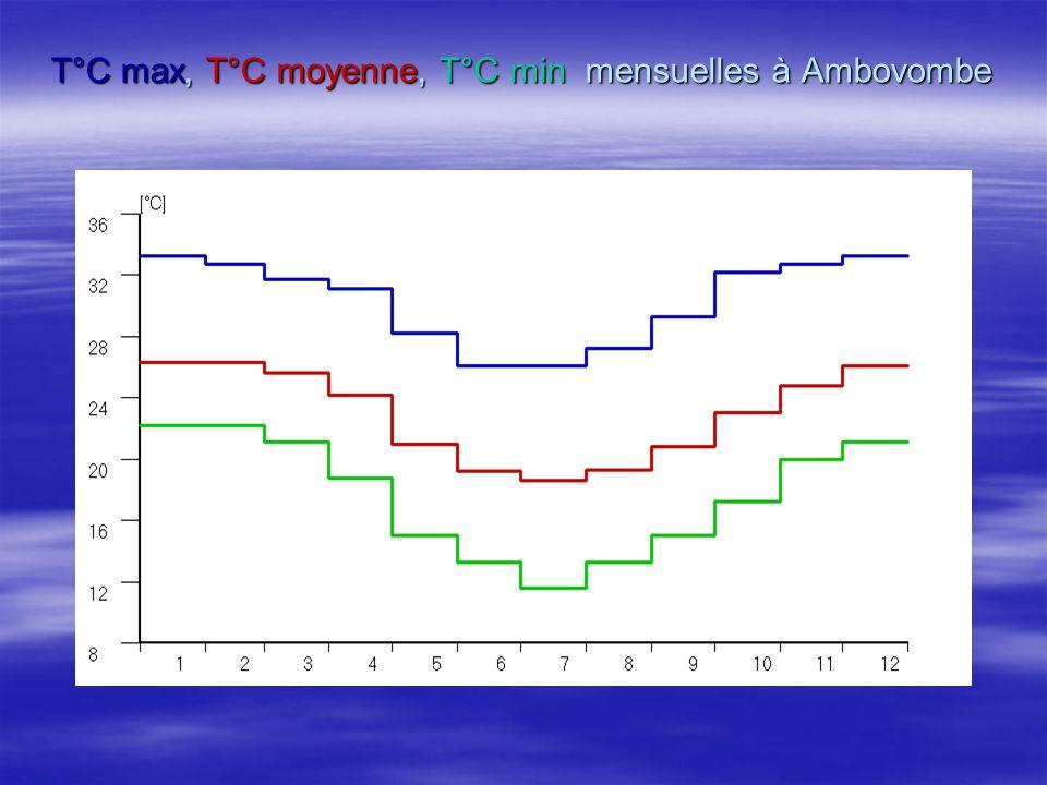 T°C max, T°C moyenne, T°C min mensuelles à Ambovombe