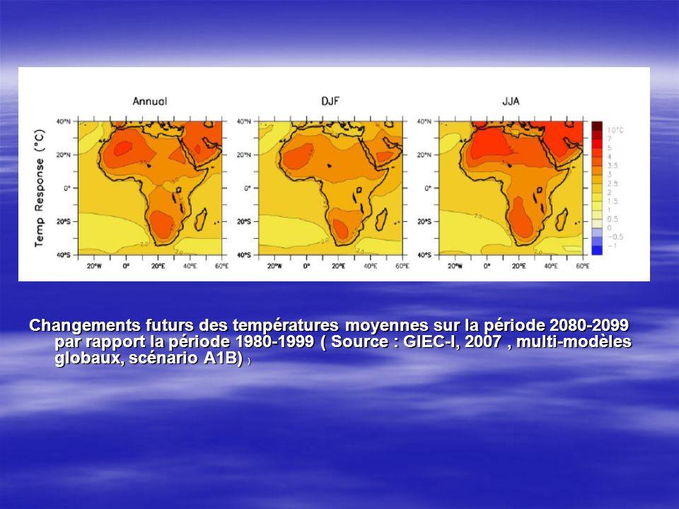 Changements futurs des températures moyennes sur la période 2080-2099 par rapport la période 1980-1999 ( Source : GIEC-I, 2007, multi-modèles globaux, scénario A1B) )