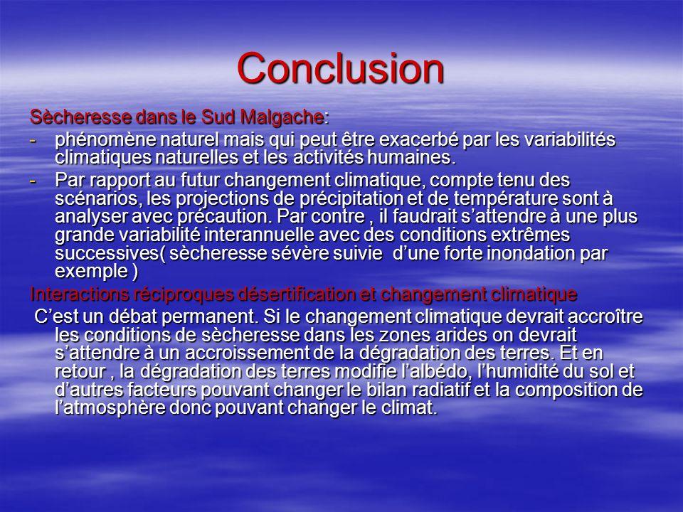 Conclusion Sècheresse dans le Sud Malgache: -phénomène naturel mais qui peut être exacerbé par les variabilités climatiques naturelles et les activités humaines.