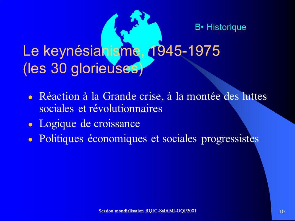 10 Session mondialisation RQIC-SalAMI-OQP2001 Le keynésianisme, 1945-1975 (les 30 glorieuses) l Réaction à la Grande crise, à la montée des luttes soc