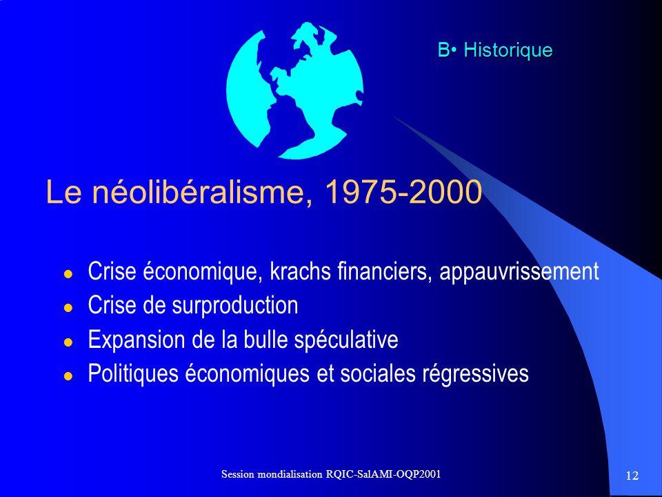 12 Session mondialisation RQIC-SalAMI-OQP2001 Le néolibéralisme, 1975-2000 l Crise économique, krachs financiers, appauvrissement l Crise de surproduc