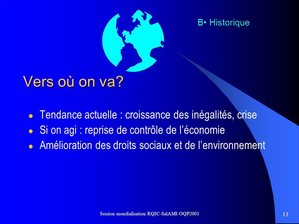 13 Session mondialisation RQIC-SalAMI-OQP2001 Vers où on va? l Tendance actuelle : croissance des inégalités, crise l Si on agi : reprise de contrôle
