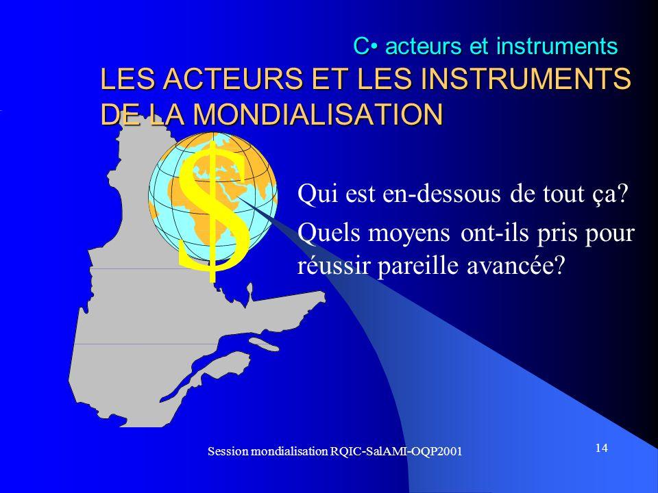 $ 14 Session mondialisation RQIC-SalAMI-OQP2001 LES ACTEURS ET LES INSTRUMENTS DE LA MONDIALISATION Qui est en-dessous de tout ça? Quels moyens ont-il