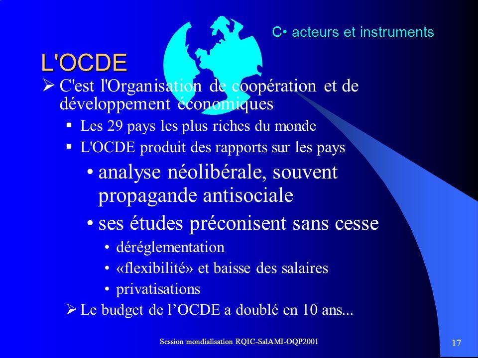 17 Session mondialisation RQIC-SalAMI-OQP2001 L'OCDE C'est l'Organisation de coopération et de développement économiques Les 29 pays les plus riches d