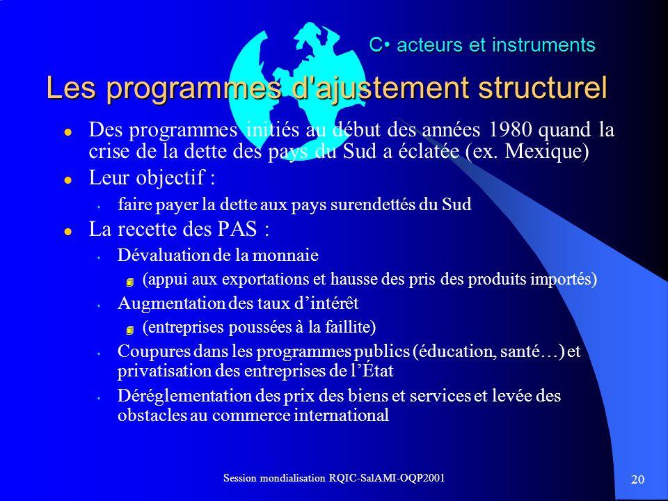 20 Session mondialisation RQIC-SalAMI-OQP2001 Les programmes d'ajustement structurel l Des programmes initiés au début des années 1980 quand la crise