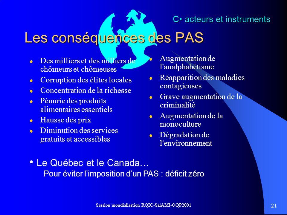 21 Session mondialisation RQIC-SalAMI-OQP2001 C acteurs et instruments Les conséquences des PAS l Des milliers et des milliers de chômeurs et chômeuse