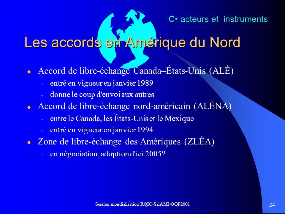 24 Session mondialisation RQIC-SalAMI-OQP2001 Les accords en Amérique du Nord l Accord de libre-échange Canada–États-Unis (ALÉ) s entré en vigueur en