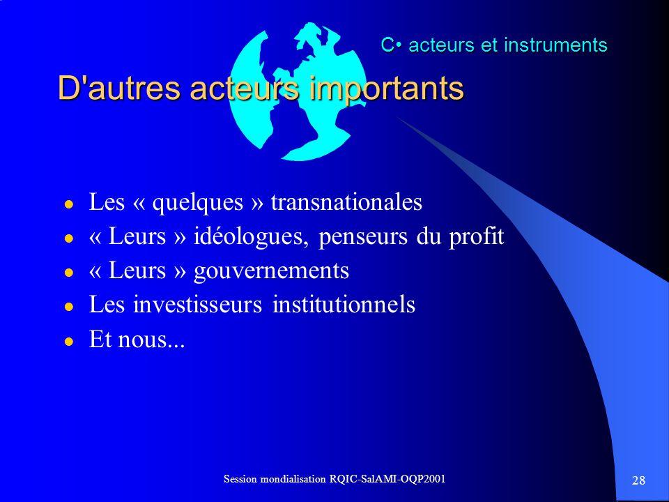 28 Session mondialisation RQIC-SalAMI-OQP2001 D'autres acteurs importants l Les « quelques » transnationales l « Leurs » idéologues, penseurs du profi