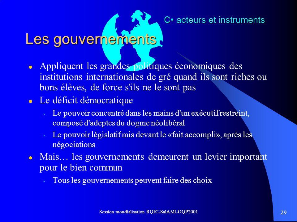 29 Session mondialisation RQIC-SalAMI-OQP2001 Les gouvernements l Appliquent les grandes politiques économiques des institutions internationales de gr