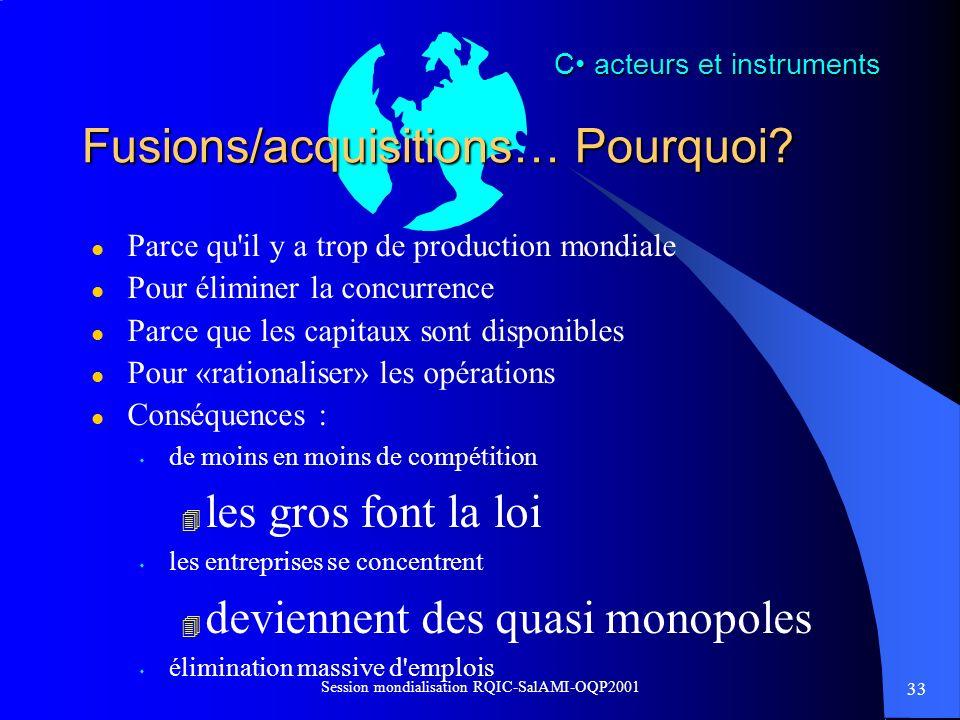33 Session mondialisation RQIC-SalAMI-OQP2001 Fusions/acquisitions… Pourquoi? l Parce qu'il y a trop de production mondiale l Pour éliminer la concurr