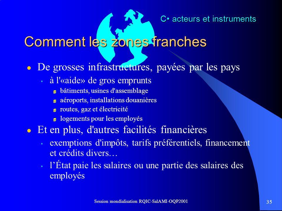 35 Session mondialisation RQIC-SalAMI-OQP2001 Comment les zones franches l De grosses infrastructures, payées par les pays s à l'«aide» de gros emprun
