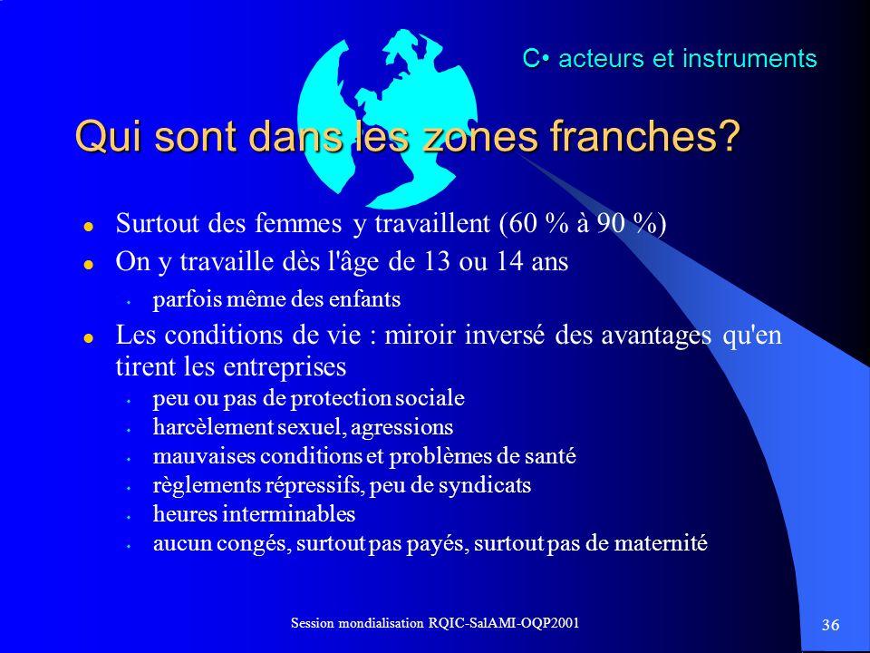 36 Session mondialisation RQIC-SalAMI-OQP2001 Qui sont dans les zones franches? l Surtout des femmes y travaillent (60 % à 90 %) l On y travaille dès