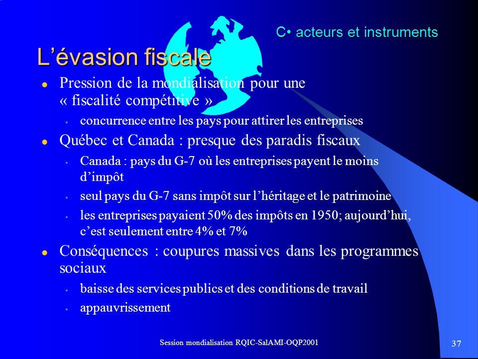 37 Session mondialisation RQIC-SalAMI-OQP2001 Lévasion fiscale l Pression de la mondialisation pour une « fiscalité compétitive » s concurrence entre