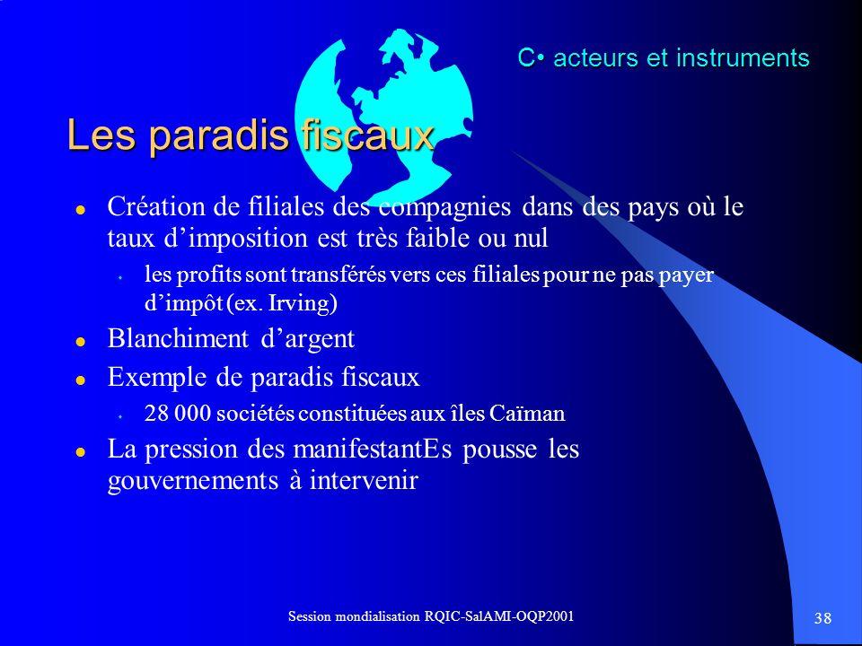 38 Session mondialisation RQIC-SalAMI-OQP2001 Les paradis fiscaux l Création de filiales des compagnies dans des pays où le taux dimposition est très