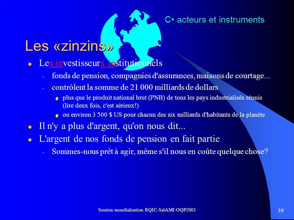 39 Session mondialisation RQIC-SalAMI-OQP2001 Les «zinzins» l Les investisseurs institutionnels s fonds de pension, compagnies d'assurances, maisons d