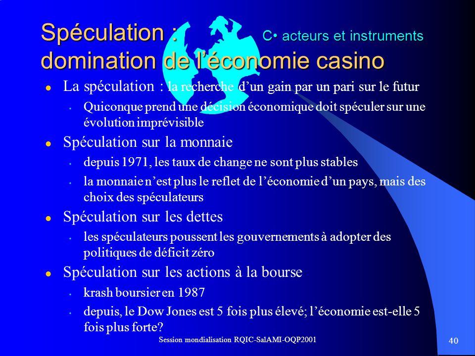 40 Session mondialisation RQIC-SalAMI-OQP2001 Spéculation : domination de léconomie casino l La spéculation : la recherche dun gain par un pari sur le