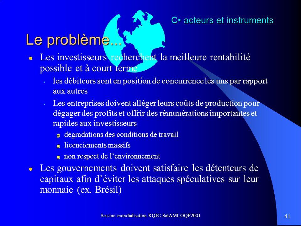 41 Session mondialisation RQIC-SalAMI-OQP2001 Le problème... l Les investisseurs recherchent la meilleure rentabilité possible et à court terme s les